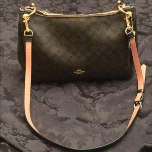 Coach large shoulder bag - brown w/pink strap